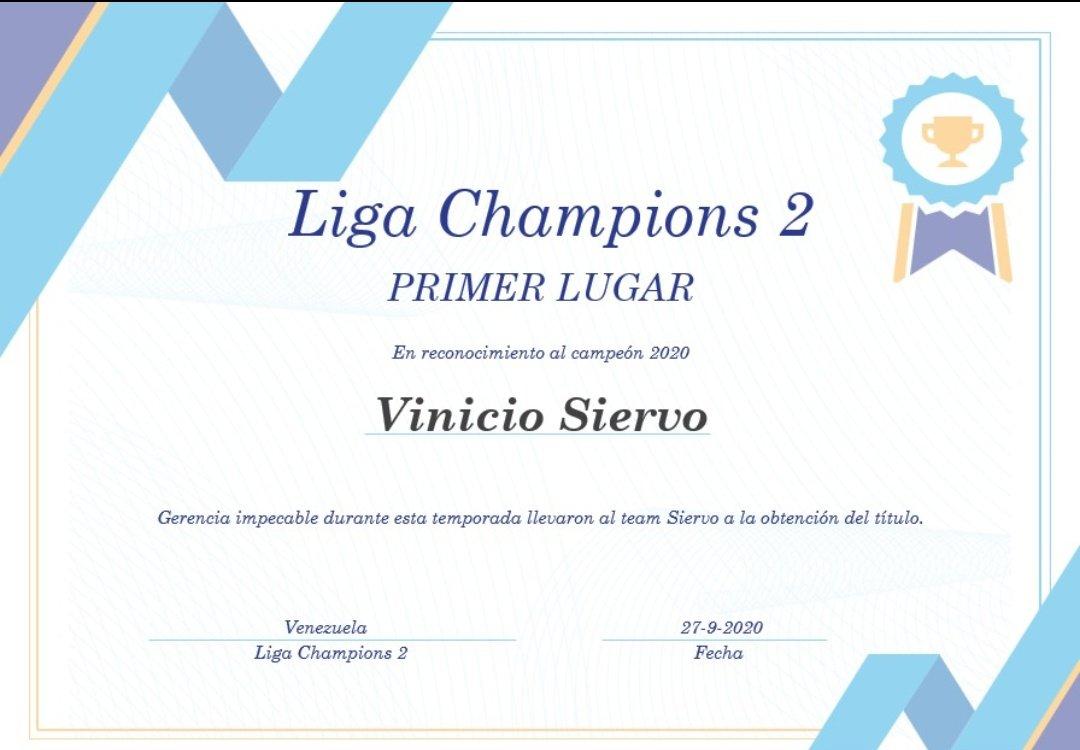 Felicitamos al campeón 2020 de nuestra liga champions 2 @VinicioSiervo quien a base de buenos movimientos y excelente gerencia logró alzarse con los máximos honores.   Puesto fijo en la liga 1 para la próxima campaña.  ¡Felicitaciones!  #SLC #FantasyBaseball https://t.co/Pu7xXGTKUr