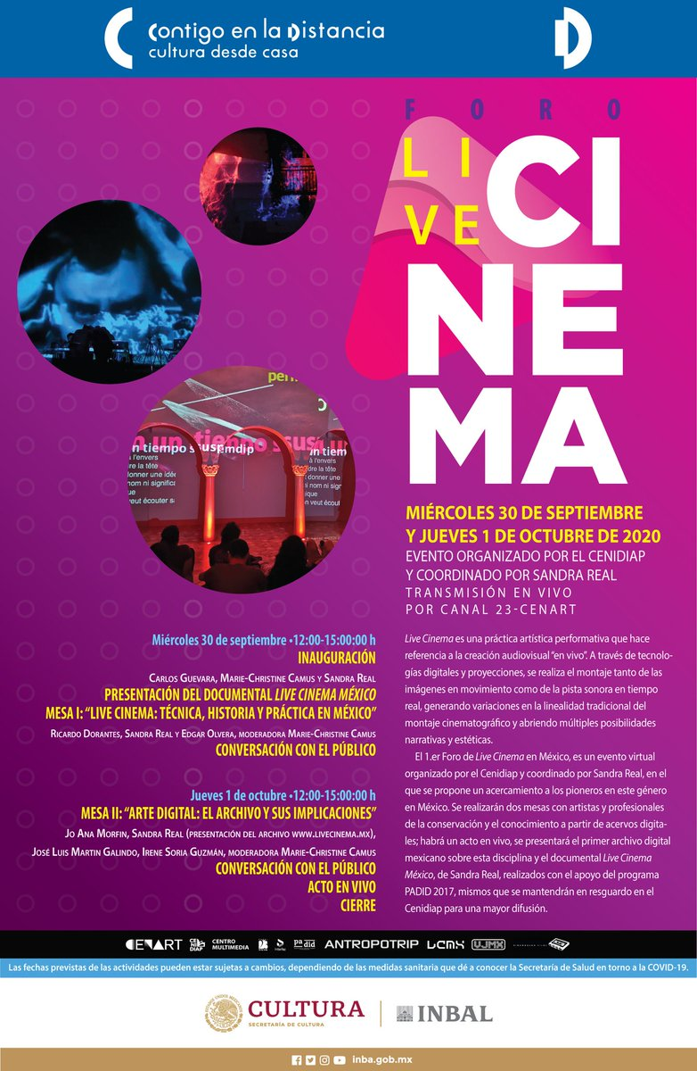 Te invitamos al evento virtual: Primer Foro de Live Cinema en México, se propone un acercamiento a los pioneros de este género en México. 📅 Miércoles 30 de septiembre Y   Jueves 1 de Octubre 🕒 De 12 a 15 h Transmisión en VIVO Por  👨🏽💻 #InterfazCenart  👉🏼 https://t.co/6RHUlPRjXp https://t.co/ru8g8UKU9X