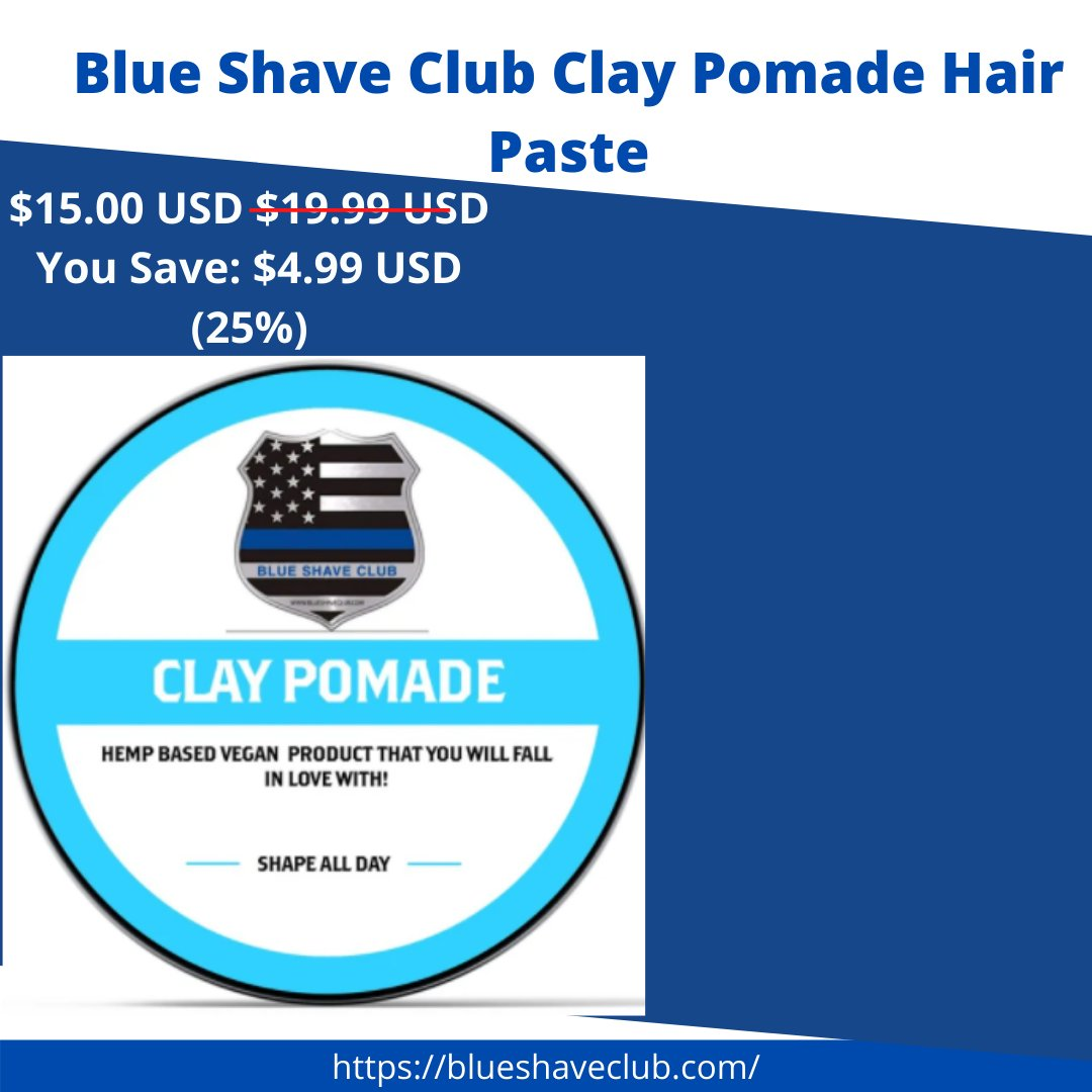 Our pomade is just tiny bit gritty, that's the clay base, and is a matte finish-  Shop Now!🔅 https://t.co/3wJzNuFwB4 ( link in bio too)👆👆  ➡️ Follow @blueshaveclub   #blueshaveclub #shop #deodorant #allnaturaldeodorant  #fashion  #thinblueline #deodorantnaturel  #beauty https://t.co/0g3hXquaVC