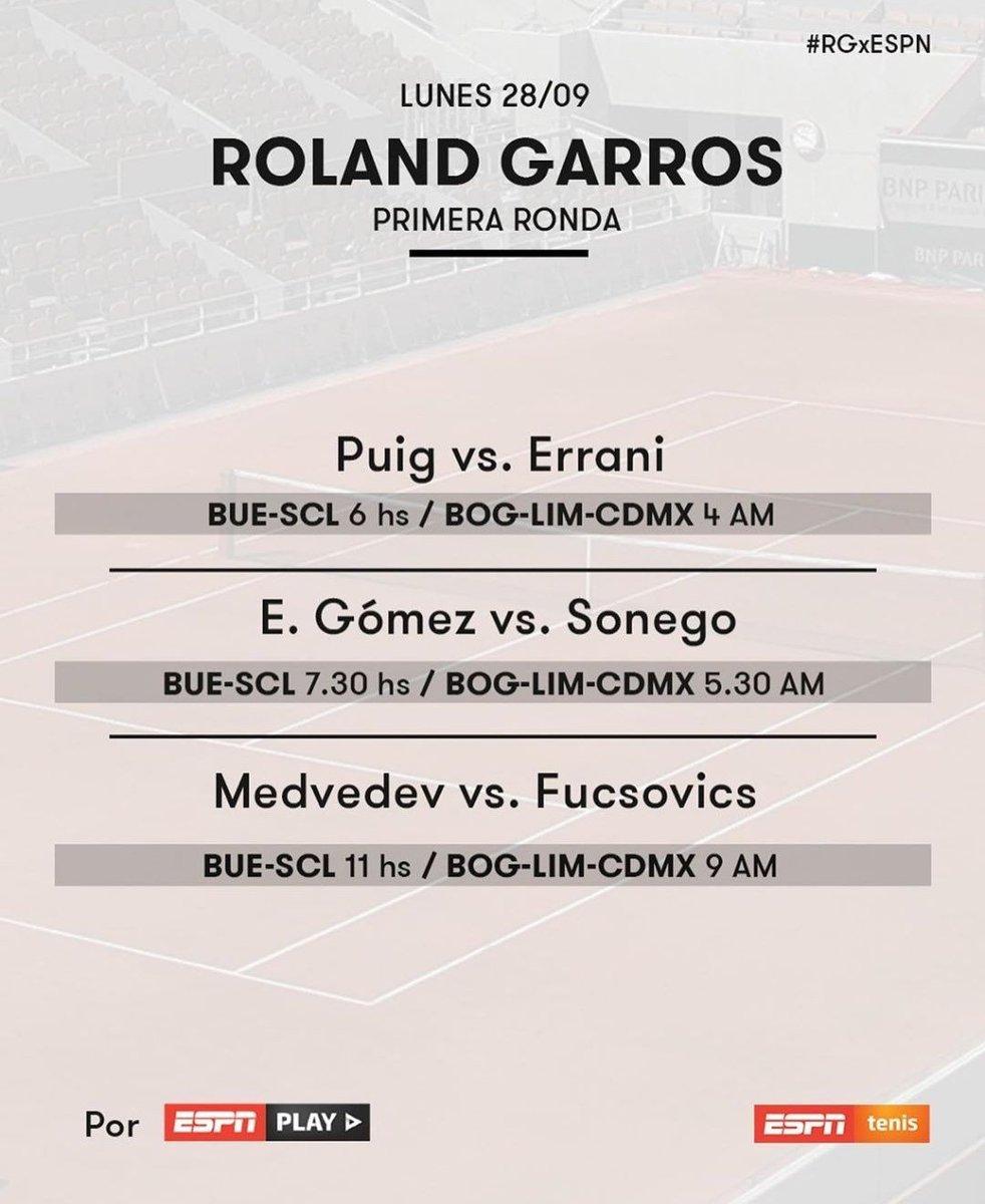 ATENCIÓN #ESPN PLAY transmitirá el partido de Emilio Gómez en #RolandGarros Como se ve en la información oficial, por las señales de Tv tradicional ESPN & ESPN 3 van otros partidos. Así que será por la plataforma digital Play entonces https://t.co/8EsaNkAOvh