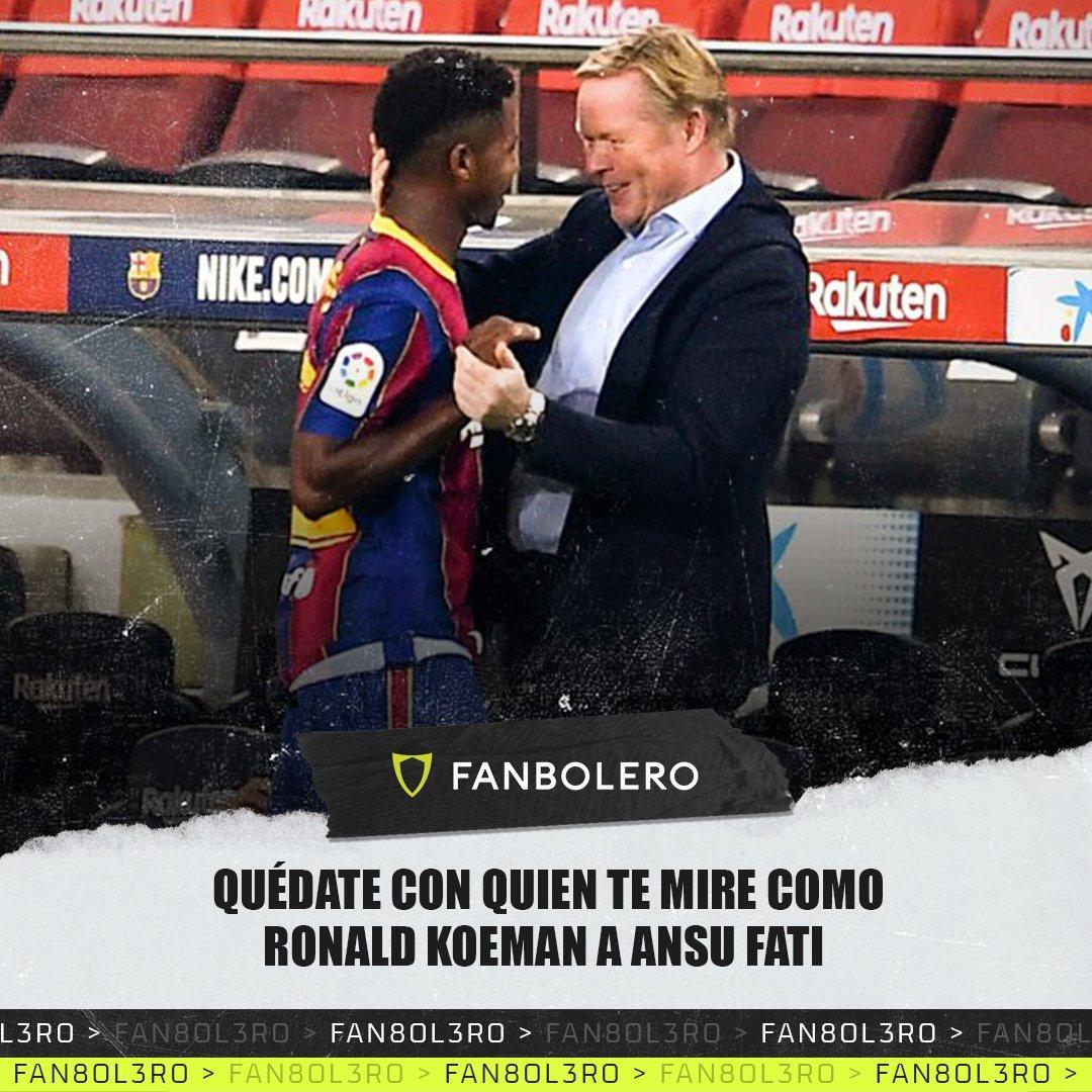 Al parecer, las cosas empezaron de lo mejor en el Camp Nou y el técnico holandés lo sabe... 😅🏟🇳🇱🇪🇸  #RonaldKoeman #AnsuFati #Barcelona #LaLiga #SoyFanbolero https://t.co/kyvMR7RhQ1