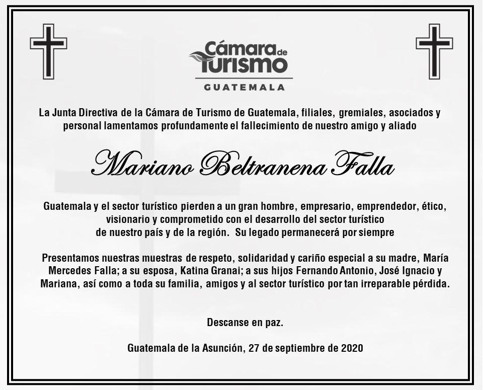 test Twitter Media - La Cámara de Turismo de Guatemala lamentó también se pronunció por el fallecimiento de Mariano Beltranena. https://t.co/n3lBNkb1EG