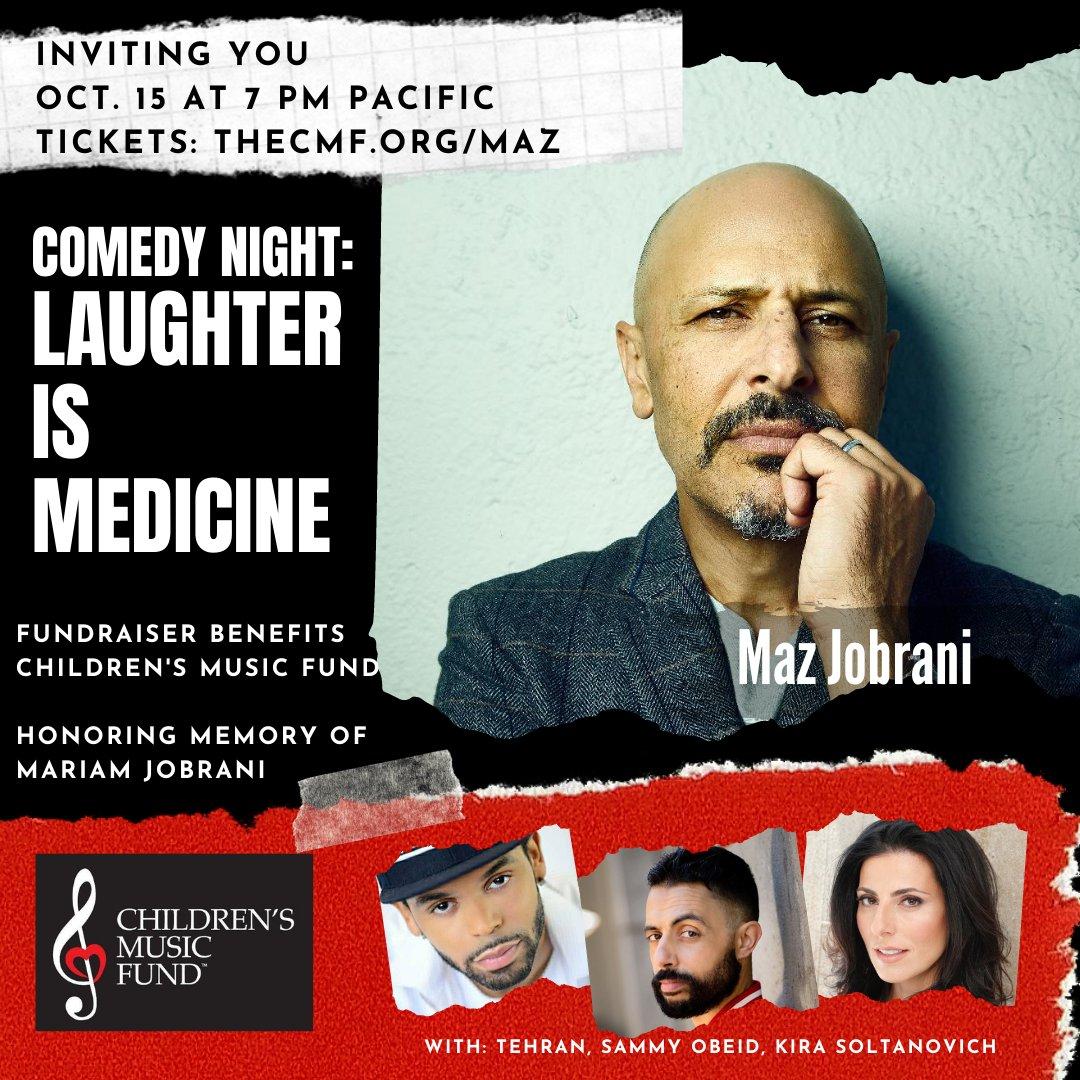 Comedy Night - LAUGHTER IS MEDICINE is back with headliner Maz Jobrani!  @MazJobrani  & comedians @kiracomedy @SammyObeid & @IAmTehran will ALL be performing LIVE. Don't miss this aMAZing evening! Buy  tickets now at https://t.co/XYHRJkANrH #CMFKids #musictherapy #comedynight https://t.co/uaGsIpdC1E