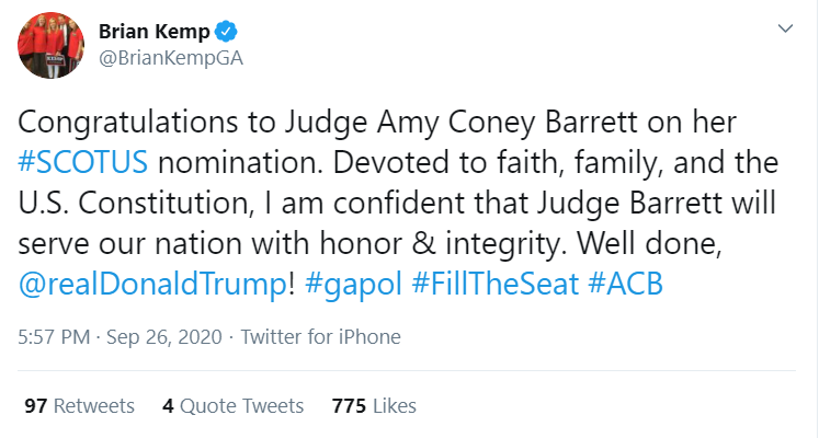 """SCOOP: On a private conference call Saturday night, @WhiteHouse officials urged religious conservative groups to create """"a positive echo for the president's nomination of Judge AMY CONEY BARRETT,"""" & encouraged them to focus on her family & faith, highlighting this tweet as an ex. https://t.co/Ykml1vZH0y"""
