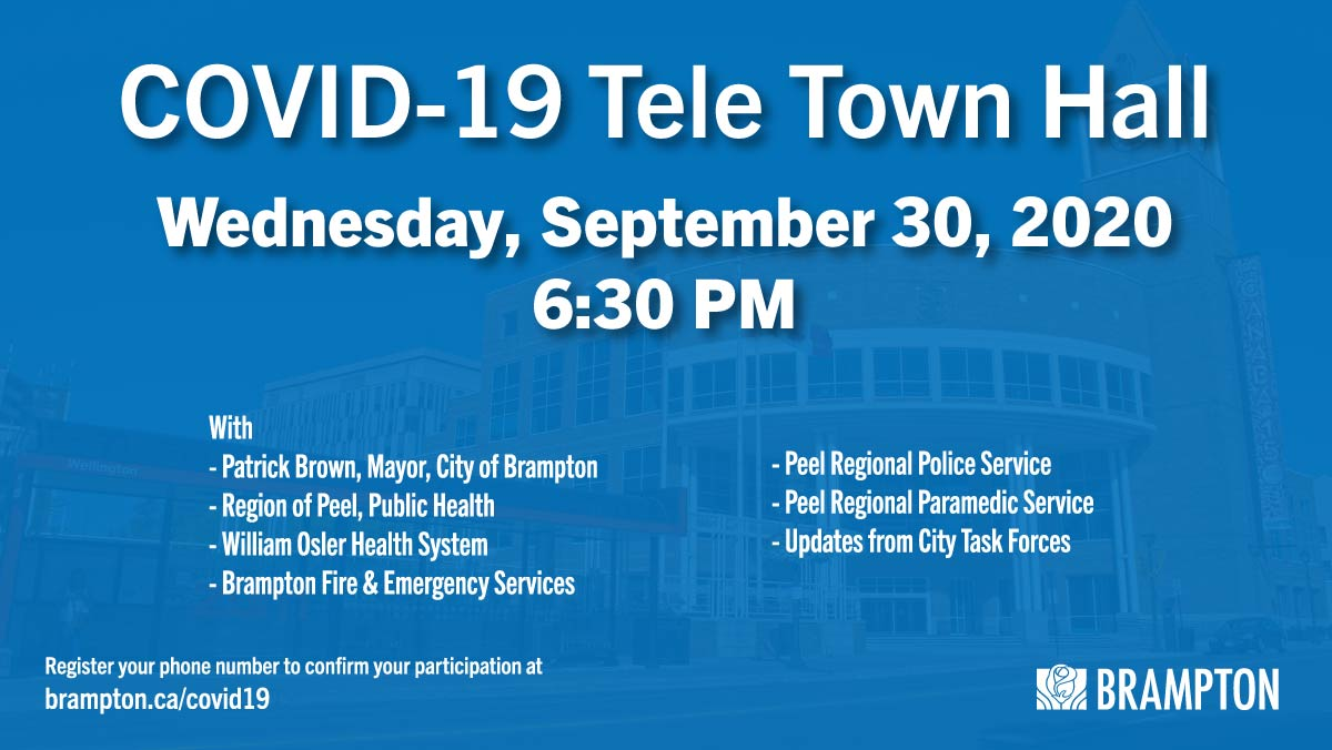 Stay informed! ☑️  Join our Tele Town Hall this Wednesday at 6:30 pm for the latest updates on our response to #COVID19. Hear from Mayor @patrickbrownont, @BramptonFireES, @OslerHealth  @PeelPolice, @regionofpeel and @Peel_Paramedics. ☎️  Sign up here ➡️ https://t.co/qhO820YBEj https://t.co/IXt9CFU42q
