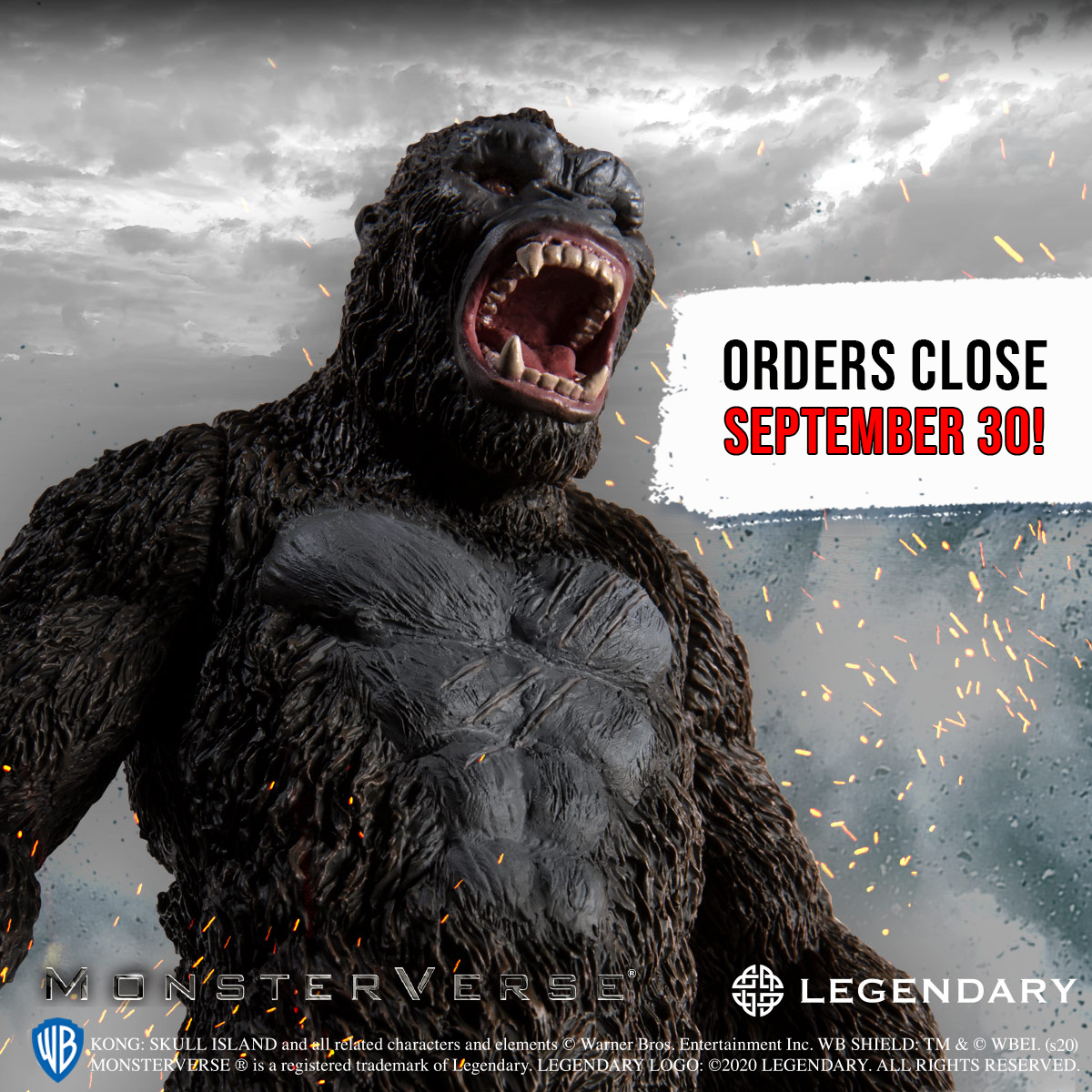 Orders for The legendary Kong: Skull Island figure close on September 30! Get this soft vinyl figure that stands 20cm (about 8 inches) tall!  https://t.co/asKYvroD94   Order yours before it's too late!  #PremiumBandai #KingKong https://t.co/U2fQnZcHA1
