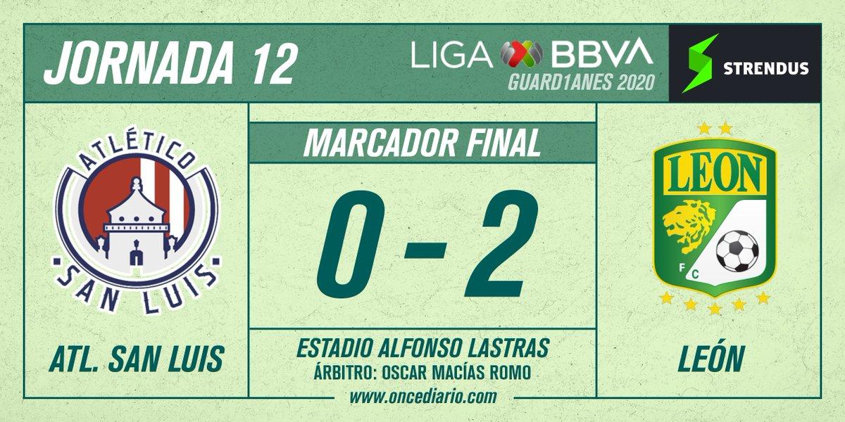#Guard1anes2020 | Min 90+3' ⏱️  Terminó el partido. #León se llevó los tres puntos en casa de #SanLuis.   #ASL 🏰 0-2 #LEO 🦁   Acciones del partido: https://t.co/QT7Lr5Cgi9   #SomosONCE https://t.co/P20LGSjJKI