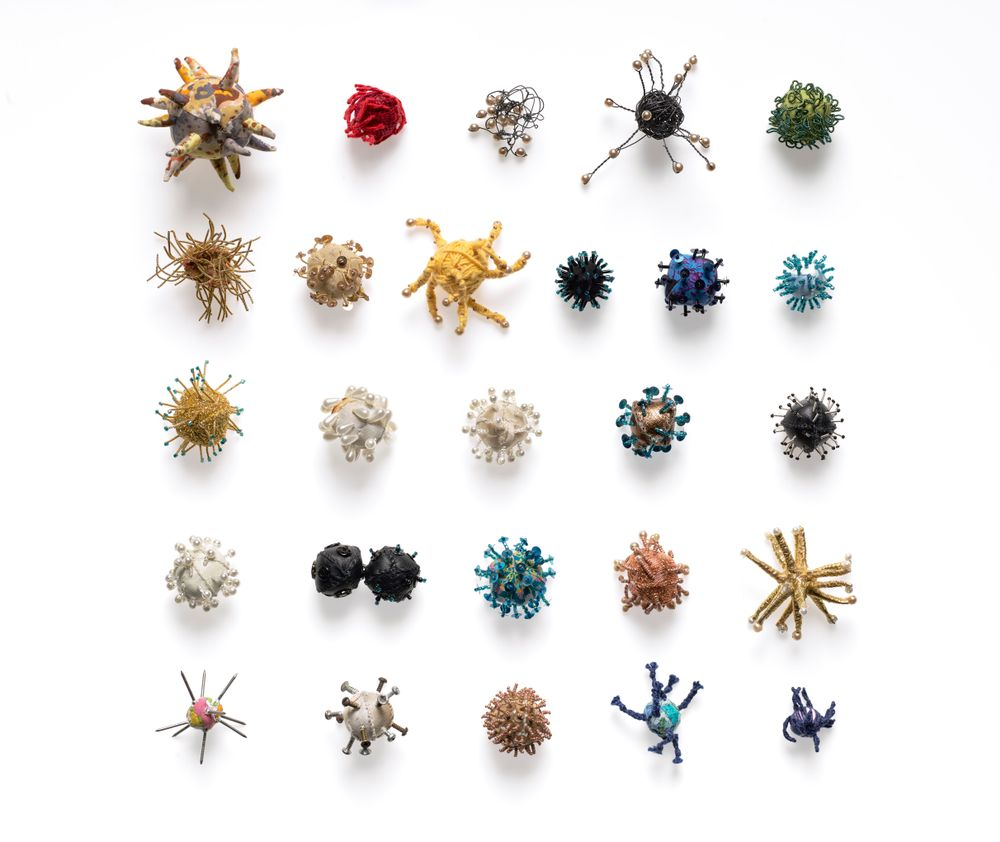 Jo Dixey, a professional needleworker, made this group of 'viruses' during Alert Level 4 lockdown. The collection materialises the unseen, and reflects one person's need to understand the virus through the therapeutic and often compulsive practice of making.⠀ https://t.co/cNuf0Xm7jG