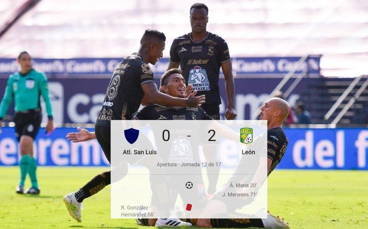 ¡La Fiera ruge en San Luis!  #Jornada12 | #León derrotó como visitante 2-0 a #SanLuis y es de manera momentánea el líder del #Guard1anes2020 https://t.co/S2sH3nk7pm