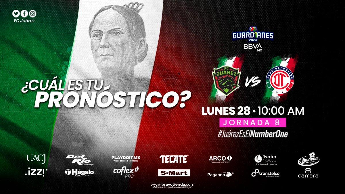 #Jornada8 #Guard1anes2020   🔜🐴⚽| ¡Mañana juega Juárez, mañana juegan las Bravas!  ¿Cuál es tu pronóstico del partido?  ⚽ Jornada 8  🗓 MAÑANA ⏱ 10:00 a.m. 📺 @TUDNMEX 🆚 @TolucaFemenil  #JuárezEsElNumberOne https://t.co/0CGQEBsxIa