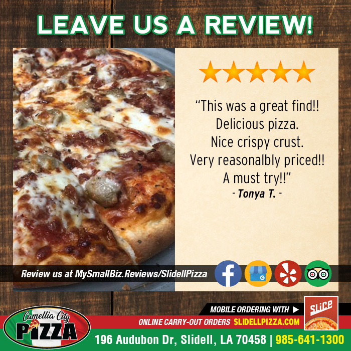We LOVE getting feedback from our customers! Let us know about your experience at #CamelliaCityPizza - CLICK HERE --> https://t.co/EYMVxX3vWA <-- to LEAVE US A REVIEW. #SlidellPizza #PizzaLover #PizzaTime #PizzaGram https://t.co/k3bGuQb9Se