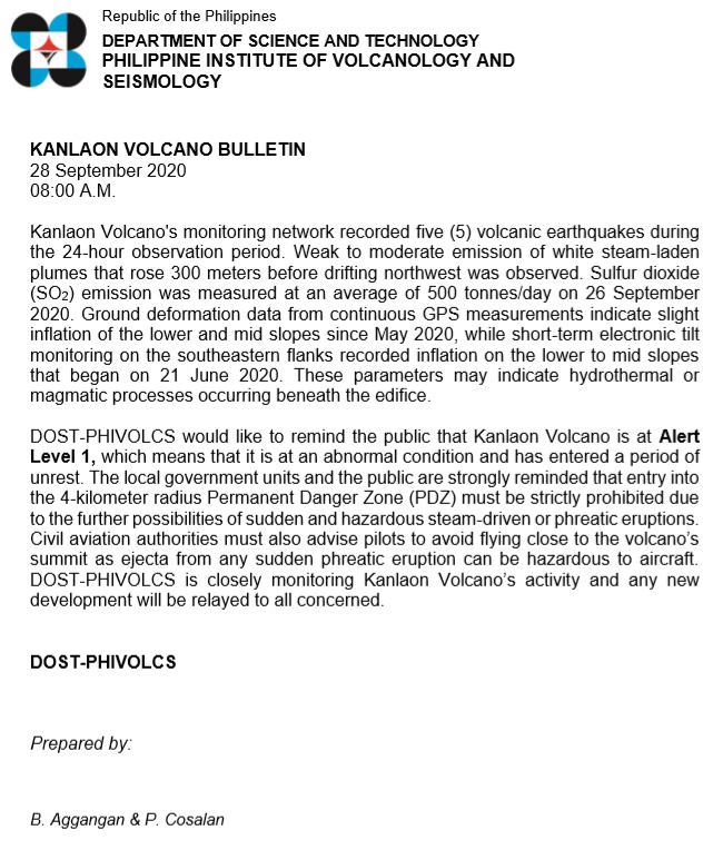 KANLAON VOLCANO BULLETIN 28 September 2020 08:00 A.M. #KanlaonVolcano phivolcs.dost.gov.ph/index.php/kanl…