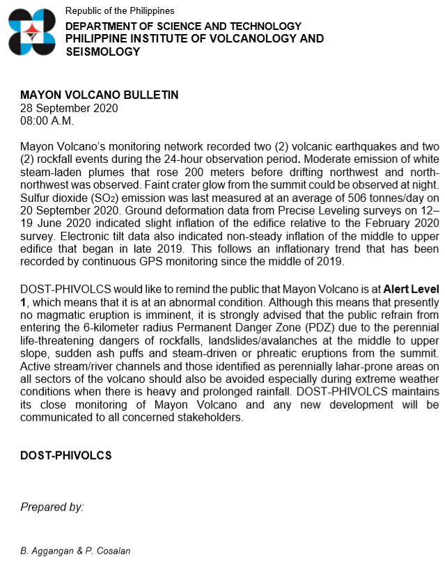 MAYON VOLCANO BULLETIN 28 September 2020 08:00 A.M. #MayonVolcano phivolcs.dost.gov.ph/index.php/mayo…