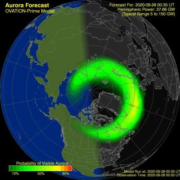 Current OVATION map showing auroral activity worldwide #northernlights #aurora https://t.co/Xcsna4bDqm https://t.co/eWqfctfRxi