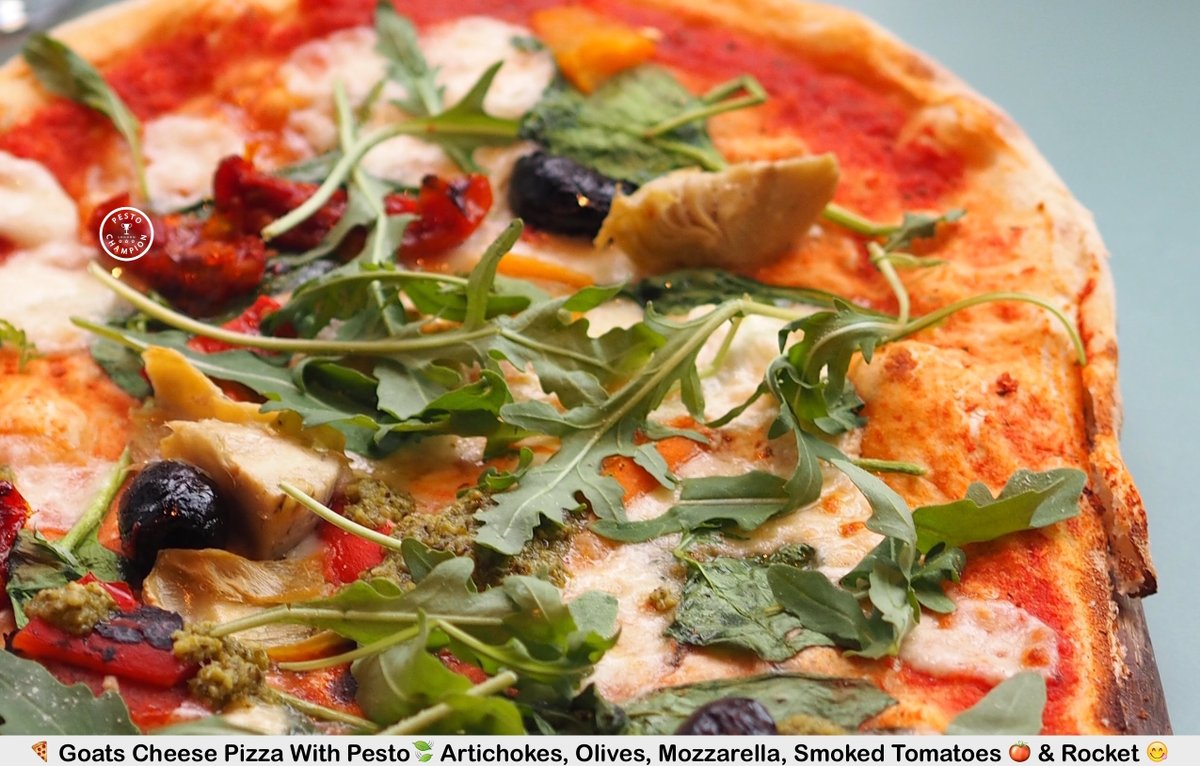 Hi friends! (ツ)  . Mmmm... Check out this Goats Cheese Pizza With #Pesto, Artichokes, Olives, Mozzarella, Tomatoes & Rocket  (ツ)   . ♡ Have a lovely day from #PestoChampion ♡ . https://t.co/aNXP52ajgX