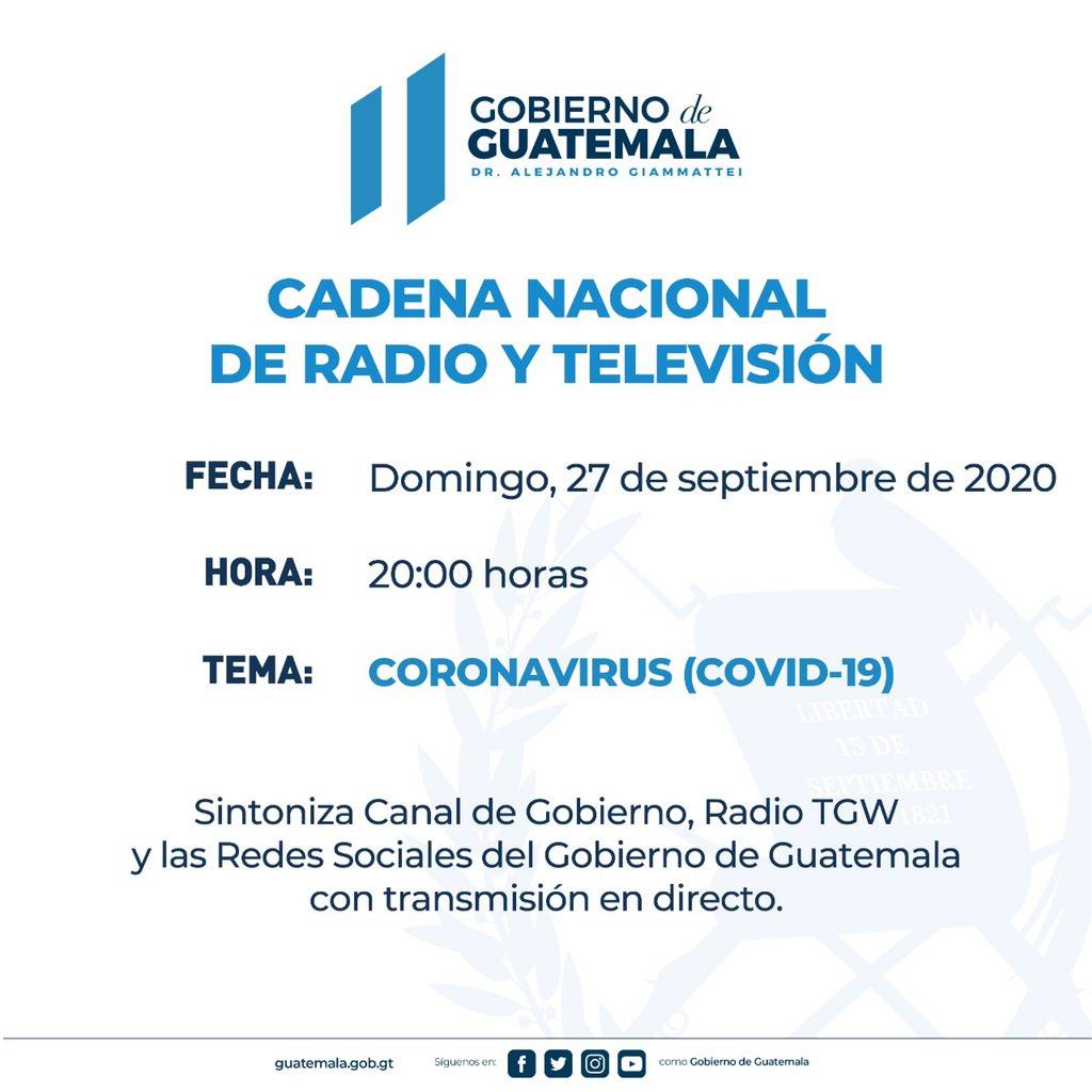 test Twitter Media - El @GuatemalaGob anuncia cadena nacional a las 20:00 horas. https://t.co/fr2GJXt0qe