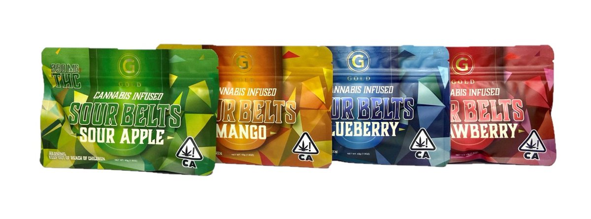 #GOLDSOURBELTS come in a variety of flavors, these edibles pack a punch and taste great too! #edibles https://t.co/rMYQElnp4K