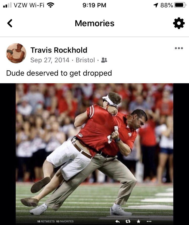 Was just reminded today is the anniversary of @schlegelvellie dropping some random fan running on the field.