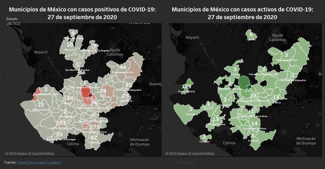#Guadalajara y #Zapopan son los municipios de #Jalisco con el mayor número de contagios #COVID19. Cifras reportadas por @SSalud_mx #27Septiembre  📌Confirmados: 26,315 📌Sospechosos: 2,992 📌Decesos: 3,213 🚦#NuevaNormalidad en 🟠 Más datos en: https://t.co/V14Dfx5iWO https://t.co/UnRUfWdfvL