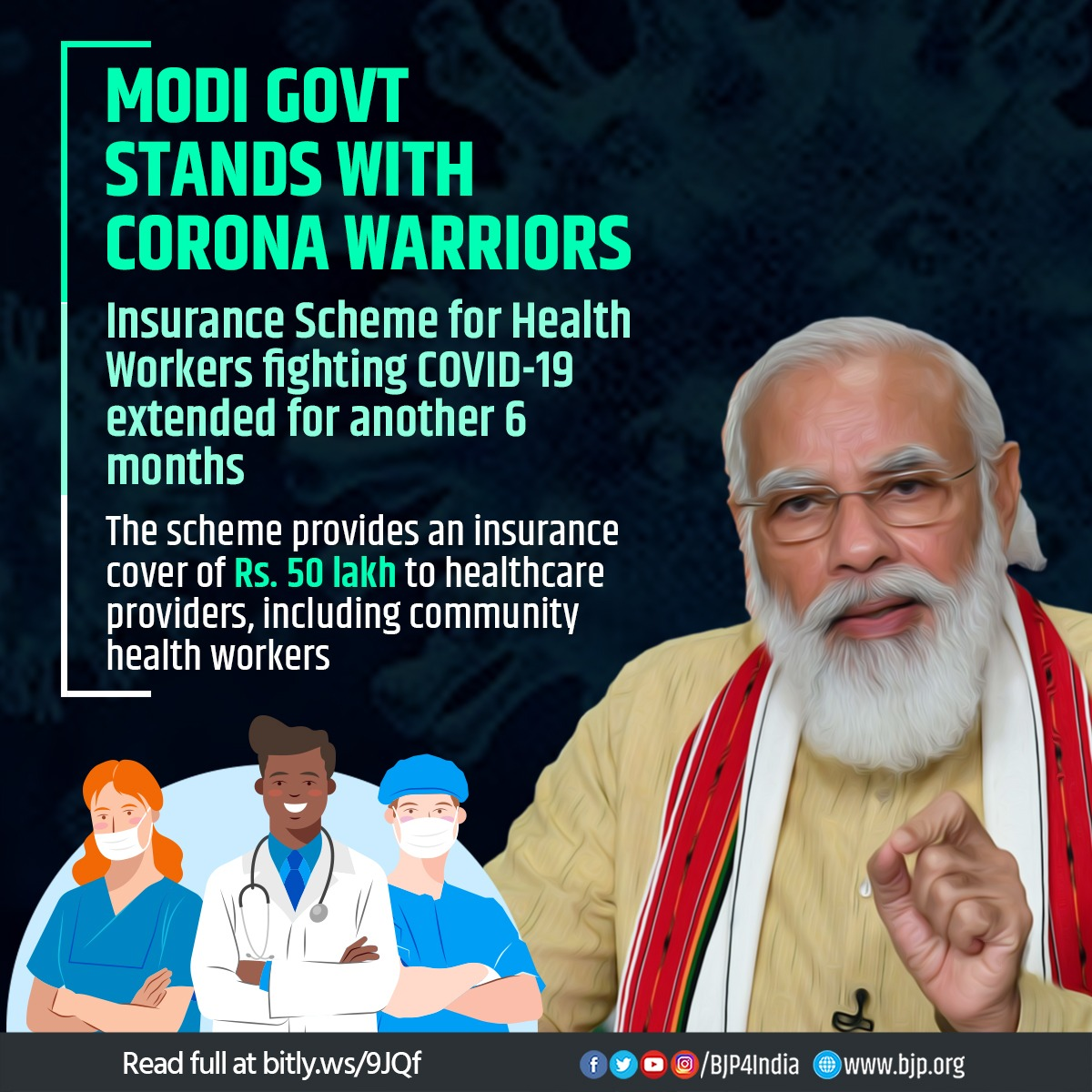 Modi government stands with Corona Warriors. Insurance scheme with a coverage of Rs 50 lakh for healthcare workers fighting COVID-19 has now been extended for another 6 months w.e.f. 25th Sept, 2020. Announced on 30 March, this is the second extension. #IndiaFightsCorona