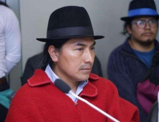 Líder indígena Leónidas Iza, del Movimiento Indígena y Campesino de Cotopaxi (MICC)