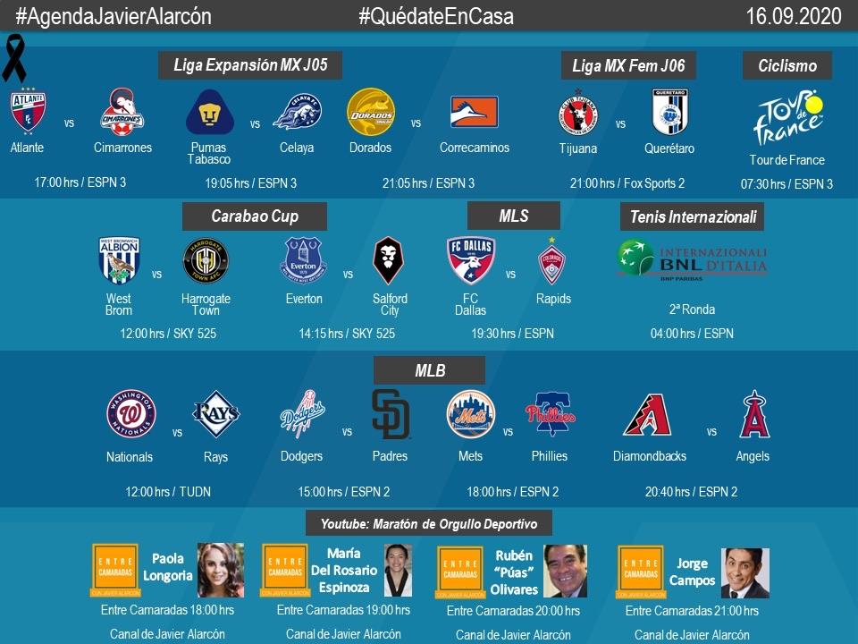 #AgendaJavierAlarcon | #LigaBBVAExpansionMX #LigaBBVAMXFemenil #CarabaoCup #MLS #MLB #ibi20 #TDF2020 #EntreCamaradas https://t.co/9EWlHP06Sj