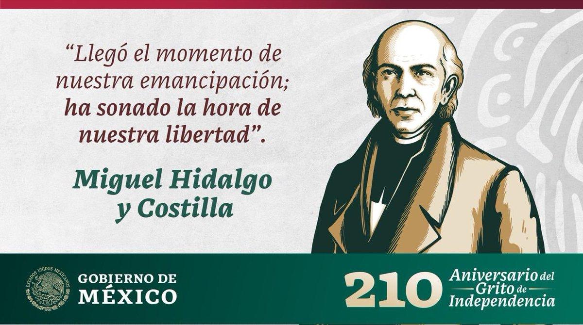 #LlamaDeLaEsperanza #15DeSeptiembre  El Benemérito #MiguelHidalgo da el #GritoDeIndependencia la madrugada del 16 de septiembre de 1810, este acontecimiento marca el inicio de la lucha por la libertad del pueblo de México.   ¡Que viva el Padre de la Patria! ¡Que #VivaMéxico! 🇲🇽🎊 https://t.co/p6traN82Mx