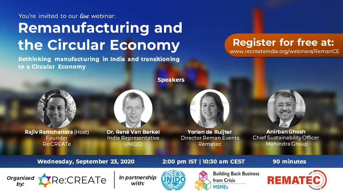 Join us, and a panel of #experts and #leaders next week as they share their perspectives on #remanufacturing, its potential in #India, and how it can be a part of India's #circulareconomy journey.  To learn more and register, please visit: https://t.co/Mr9seS4w9o https://t.co/dp6cHDltex