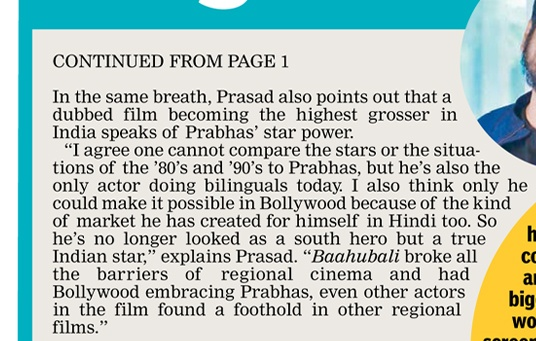 """Only Prabhas could make it possible in Bollywood because of the kind of market he has created for himself in Hindi too. So he's no longer looked as a South hero but a true Indian star"" - Producer #PrasadDevineni   #AdiPurush #Prabhas 🔥"