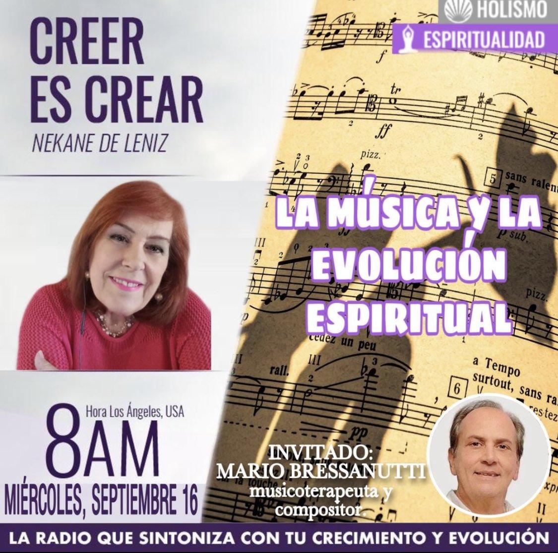 ¿Es importante la música en la evolución espiritual?. MAÑANA, 16 de septiembre de 2020, a las 11:00 am MIAMI y Venezuela; 8:00 (LA); 12:00 Argentina, 17:00 horas España, y 10 am Perú, en CREER ES CREAR, tenemos un invitado muy especial, . https://t.co/gXUPgM5trW