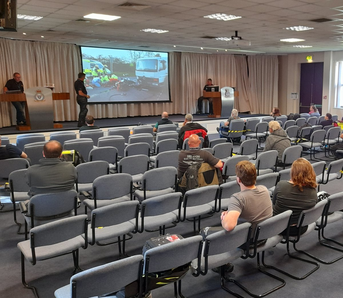 On Saturday, RAF Shawbury hosted a socially distanced 'Biker Down', motorcycle safety training day. The event, attended by 25 students and 5 staff, was delivered by @WMerciaPolice, @OFFICIALWMAS and @SAMMShropshire, supported by RAF Shawbury, @AscentFlight and Babcock personnel.
