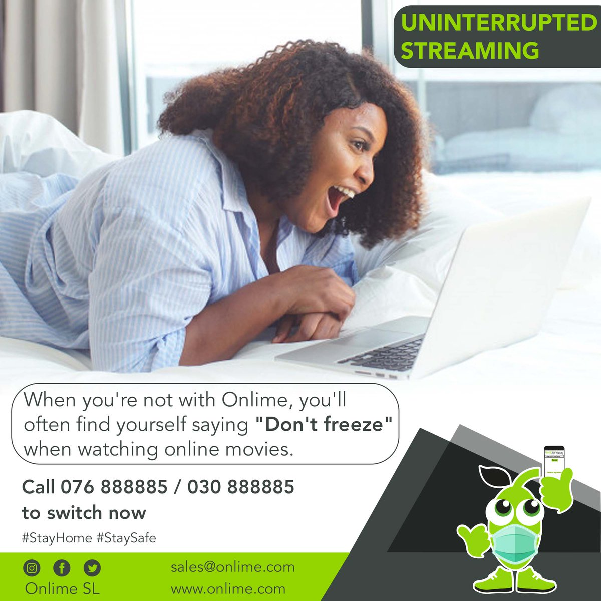 """Get connected to Onlime's super-fast internet speed and say goodbye to """"Don't Freeze"""". #OnlimeInternet Call 076 888885 / 030 888885 or email sales@onlime.sl for more info. #SierraLeone #Freetown #SaloneTwitter https://t.co/dYdE40in2p"""