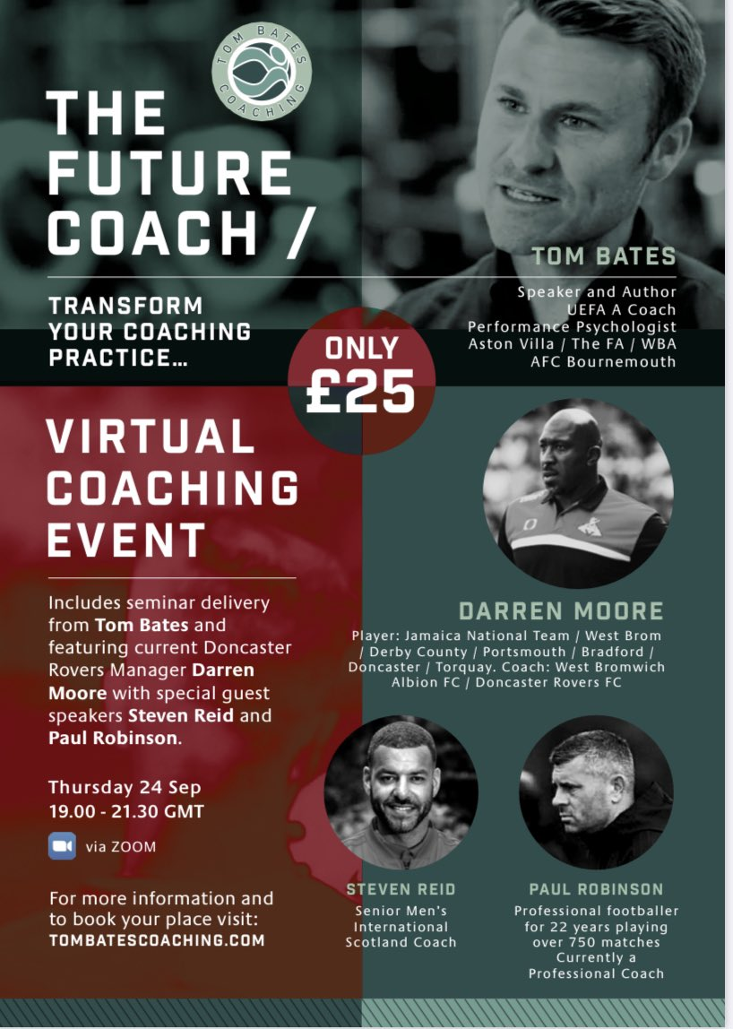 ⚽️ WHAT A LINE UP for #TheFutureCoach Virtual Seminar! Privileged to have @DarrenMooro alongside @stevenreid12 & @Robbo04pr presenting!   🎫 Tickets on sale NOW 👉🏼 https://t.co/f3cF8SyvfR   🗣 ONLY 100 spaces available ⚽️ https://t.co/9fUZmYW5Ms