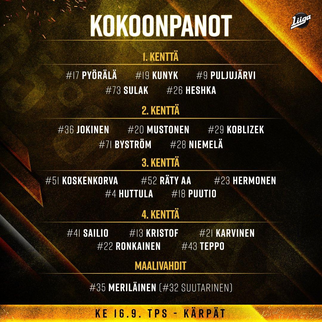 Tänään vuorossa back-to-backin osa 2! TPS - Kärpät kello 16:00 alkaen Erkan Areenalla 😎 #Kärpät #Liiga