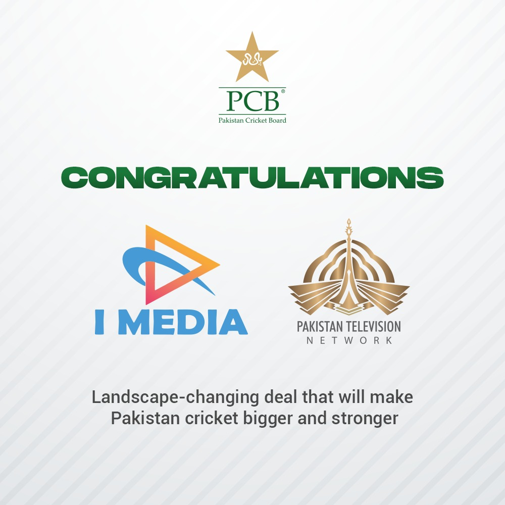 PCB congratulates Information Ministry, PTV and I-Media Communication Services on this landscape-changing deal that will make Pakistan cricket bigger and stronger. https://t.co/CCj2cloCFc https://t.co/wIQEOpwzKz