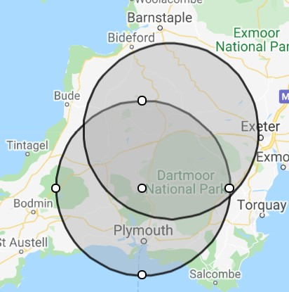 Just a quick reminder folks - #NorthernRoute isnt just about Tavistock, Okehampton and diversionary capacity. These circles show how much of Devon and Cornwall is within a c20 mile radius of those two stations.