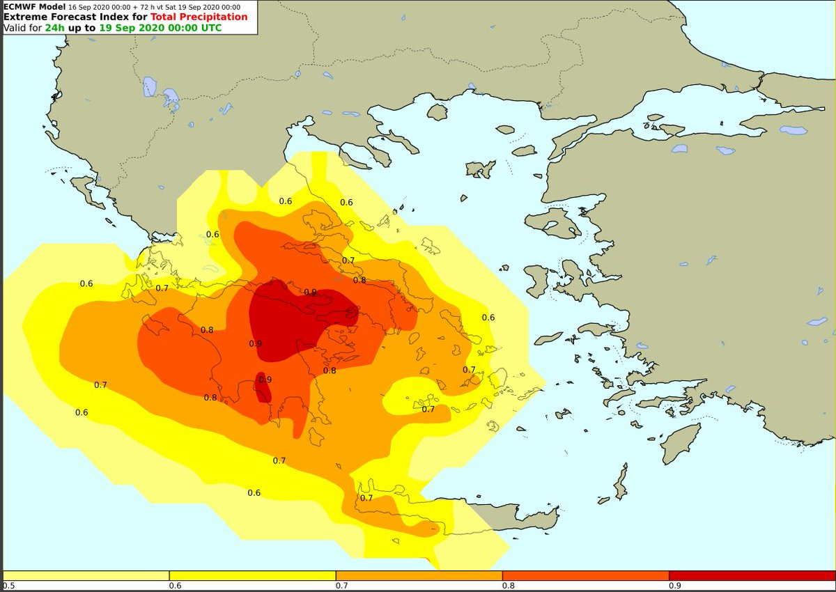 Ο Δείκτης Επικινδυνότητος 24h (Extreme Forecast Index-EFI) για τις περιοχές που προβλέπεται ακραία βροχόπτωση την Παρασκευή και περιγράφονται αναλυτικά στο #έκτακτο #δελτίο, όπου υπάρχει #κόκκινη_προειδοποίηση. Ακολουθείτε τις Οδηγίες της @GSCP_GR hnms.gr/emy/el/warning…