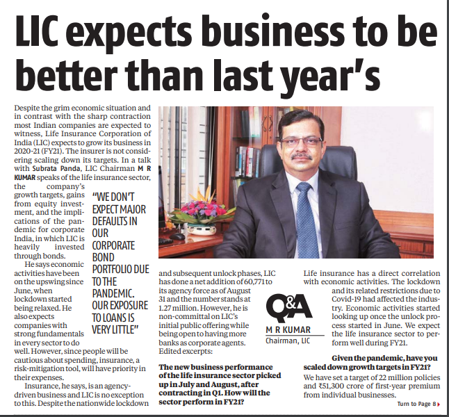 LIC Chairman in an exclusive interview with @bsindia says he doesn't expect major defaults in their corporate bond portfolio due to the pandemic. LIC invest heavily in the corporate bond market. Till August 31, LIC has invested more than 40,000 crore in equity markets. https://t.co/oyO1TbxCLg