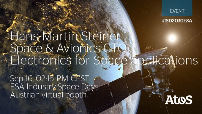 Today Hans-Martin Steiner, Atos Space & Avionics CTO, will hold a speech on 02:15...
