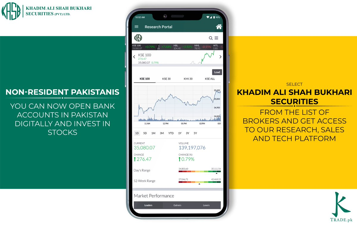 Overseas Pakistani's can invest in the stock market with their Roshan Digital Bank Accounts! Just select Khadim Ali Shah Bukhari Securities from the listed brokers and join the KASB Family #KASB #Ktrade #DigitalBankAccounts #PSX #GameChanger #OnlineTrading #InvestinPakistan🇵🇰 https://t.co/qybRq7t5FQ