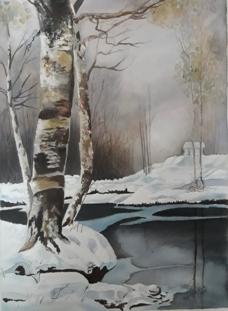 Misty day   #AcrylicColour #artwork #Art #Artist #AcrylicColour #artshare #ArtistOnTwitter  #art #Artist #Happy #Basic #sketching #Shading #watercolour #gratitude #Quarantine #QuarantineTimes #StayHomeStaySafe pic source: pinterest https://t.co/V230B45t0e