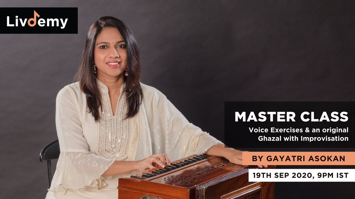 "Last call!! ⠀ If you haven't already, now is the right time to register for Gayatri Asokan's (@gayathri_asokan) Masterclass, ""Voice Exercises for Voice Flexibility and an original Ghazal with Improvisation"". ⠀ Only a few seats left ! ⠀ Register here ->  https://t.co/Mge0Xq7lua https://t.co/hA6GwNdThR"