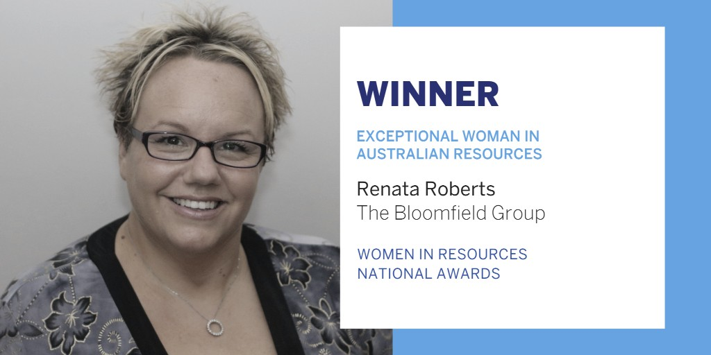 Congratulations to Renata Roberts from the Bloomfield Group, named this year's Exceptional Woman in Australian Resources at the Women in Resources National Awards 🎉  This award recognises Renata's inspiring leadership across her career. Well done! 🏆 https://t.co/L1aF7GdyiR
