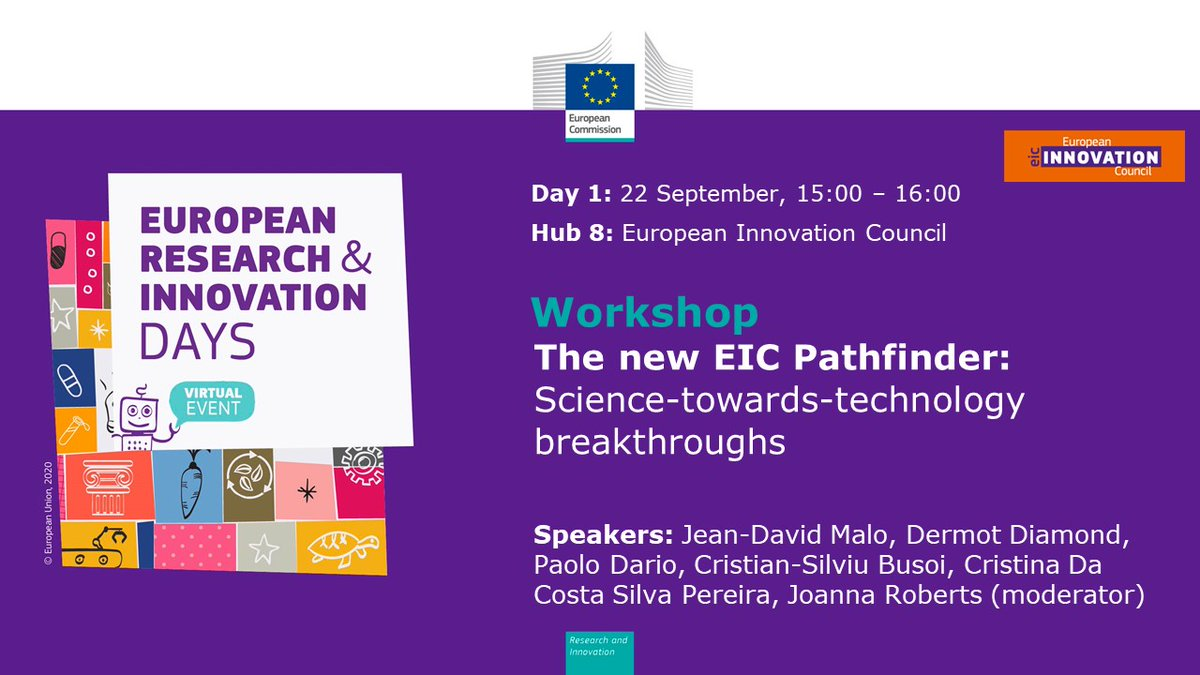 Join us for a lively #RiDaysEU discussion about the crucial role of Science-towards-technology breakthrough. 🔬  🗣️High-level speakers will give insight on the #EICPathfinder #FET_EU achievements and features within the new #HorizonEurope.  More info 👉🏻 https://t.co/BWxjCo96XZ https://t.co/HGaLB2Xsyj