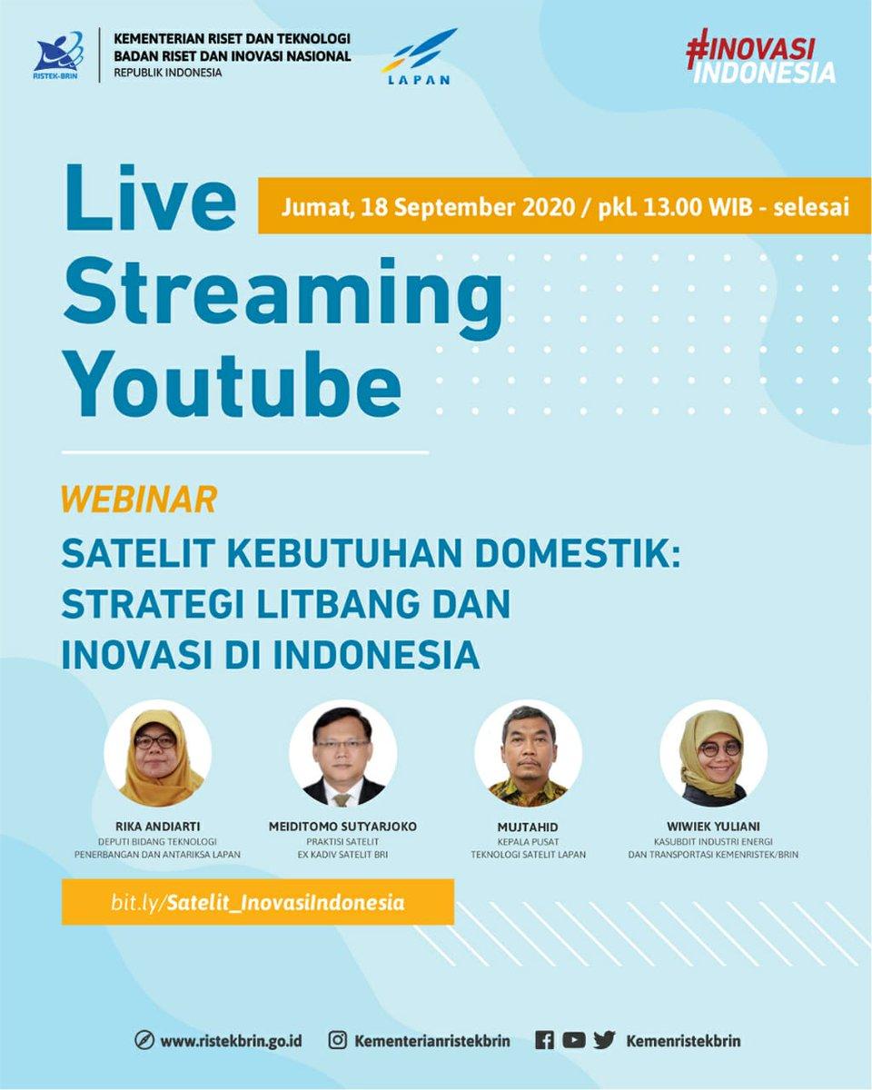 """#KawanIptek. Saksikan Webinar dengan tema """"Satelit Kebutuhan Domestik: Strategi Litbang dan Inovasi di Indonesia"""", pada Jumat, 18 September 2020 pkl. 13.00 WIB.  Jangan lupa saksikan dan ajak #KawanIptek lainnya untuk menonton Webinar ini, ya! https://t.co/8Zd0pz9I9j"""