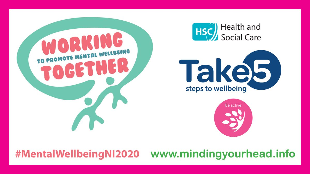 There are lots of ways to BE ACTIVE and increase movement in your daily routine, choose activities that suit your mobility, whether walking, jogging, or yoga. Visit https://t.co/VrblhGIXKi for ways you can be active in your local area. #MentalWellbeingNI2020 https://t.co/K6Nh5k5dXn