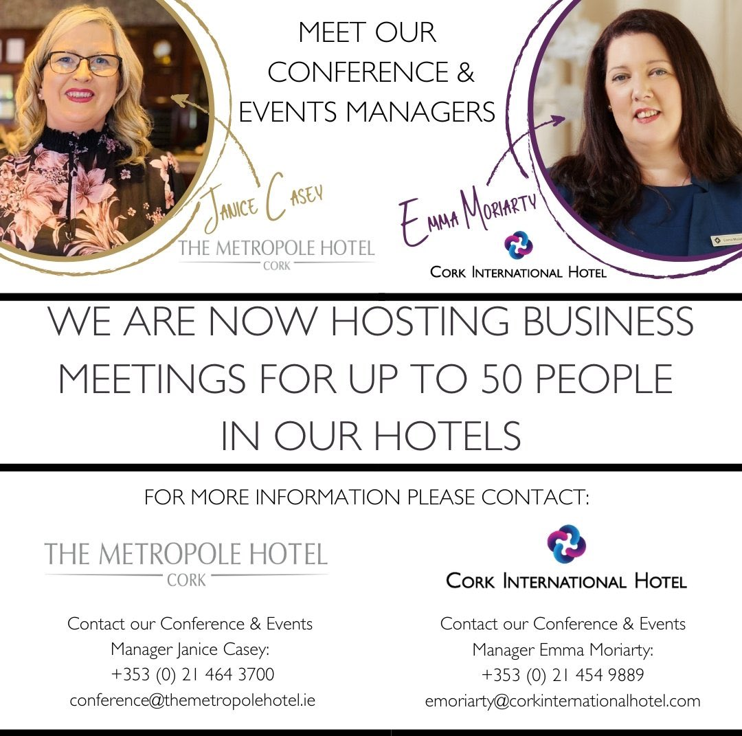 We are delighted to now be hosting business meetings for up to 50 people in both @No1CorkHotel and @MetropoleCork with social distancing in place with government regulations.  #meetings #hospitality #SocialDistancing #business #ourteam https://t.co/4SWKUxqXfR