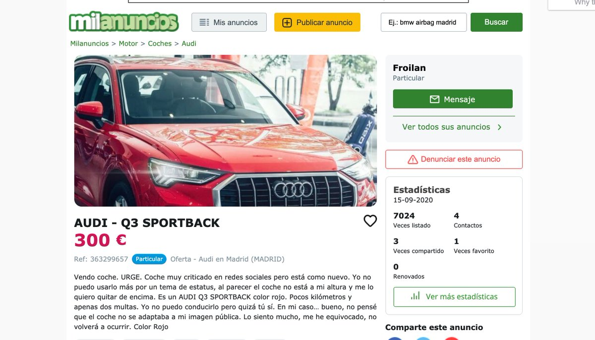 Froilán acepta las críticas recibidas y pone su coche a la venta por 300 euros para quitárselo de encima https://t.co/KMRX6Sl3pW https://t.co/HGUxuL22DD