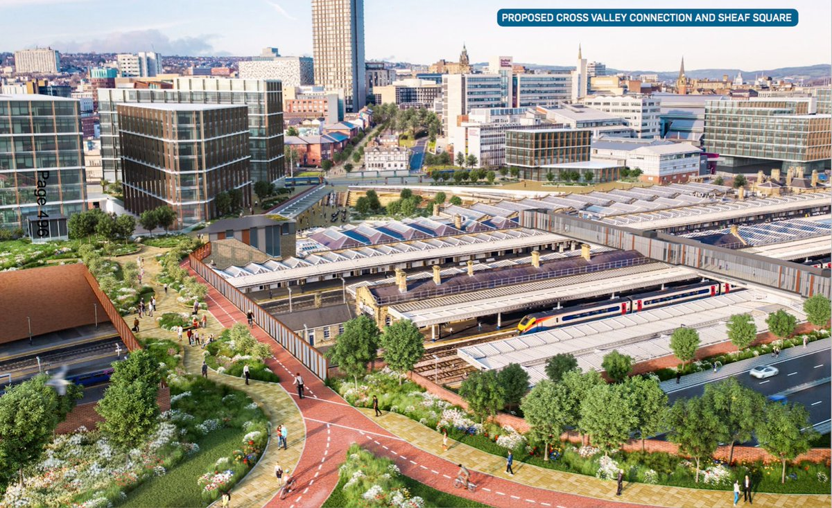 Look closely at this picture of the station - bottom right theres a dual carriageway where the tram is now. Wild. What do you think of this part of the councils £1.5bn plan? Would it impact on Park Hill homes and businesses? Please comment. thestar.co.uk/business/ps15b…