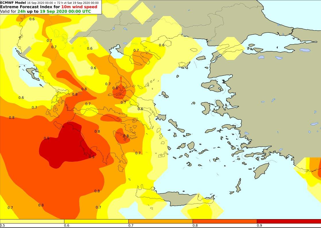 Ο Extreme Forecast Index (EFI) στο πεδίο του ανέμου στα 10m, για όλο το 24ωρο την ερχόμενη Παρασκευή.
